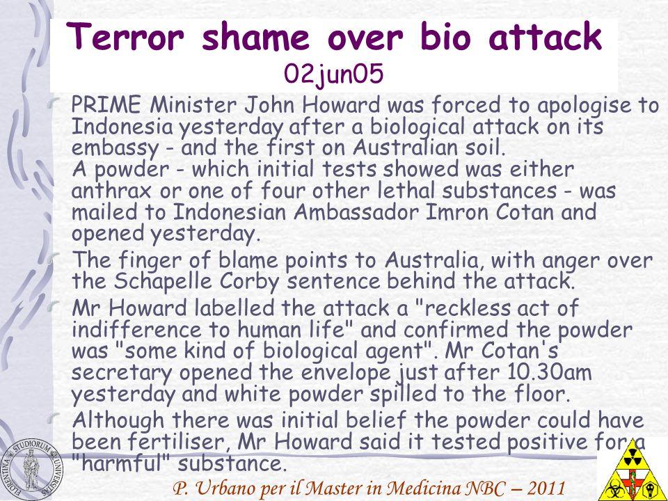 P. Urbano per il Master in Medicina NBC – 2011 Terror shame over bio attack 02jun05 PRIME Minister John Howard was forced to apologise to Indonesia ye