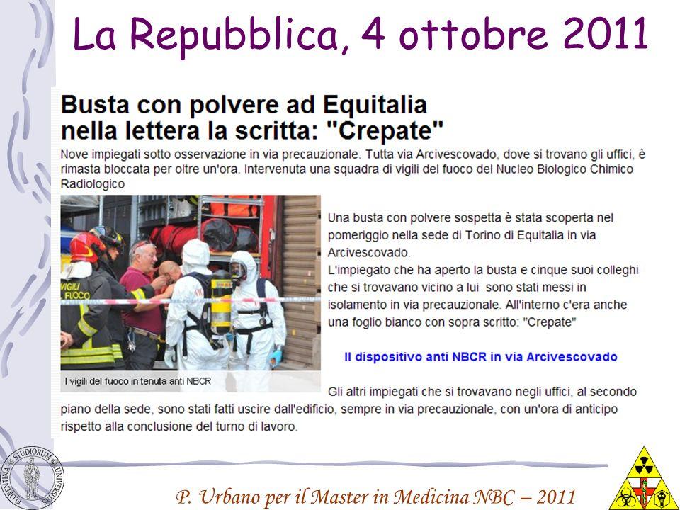 P. Urbano per il Master in Medicina NBC – 2011 La Repubblica, 4 ottobre 2011