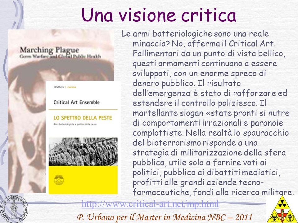 P. Urbano per il Master in Medicina NBC – 2011 Una visione critica Le armi batteriologiche sono una reale minaccia? No, afferma il Critical Art. Falli