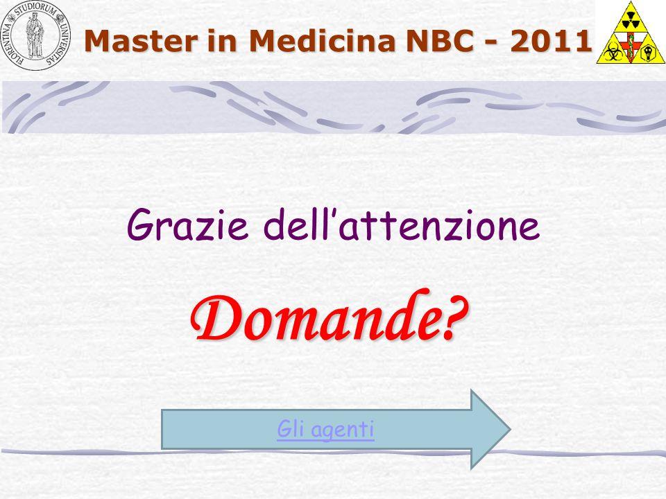 Master in Medicina NBC - 2011 Grazie dellattenzione Domande? Gli agenti