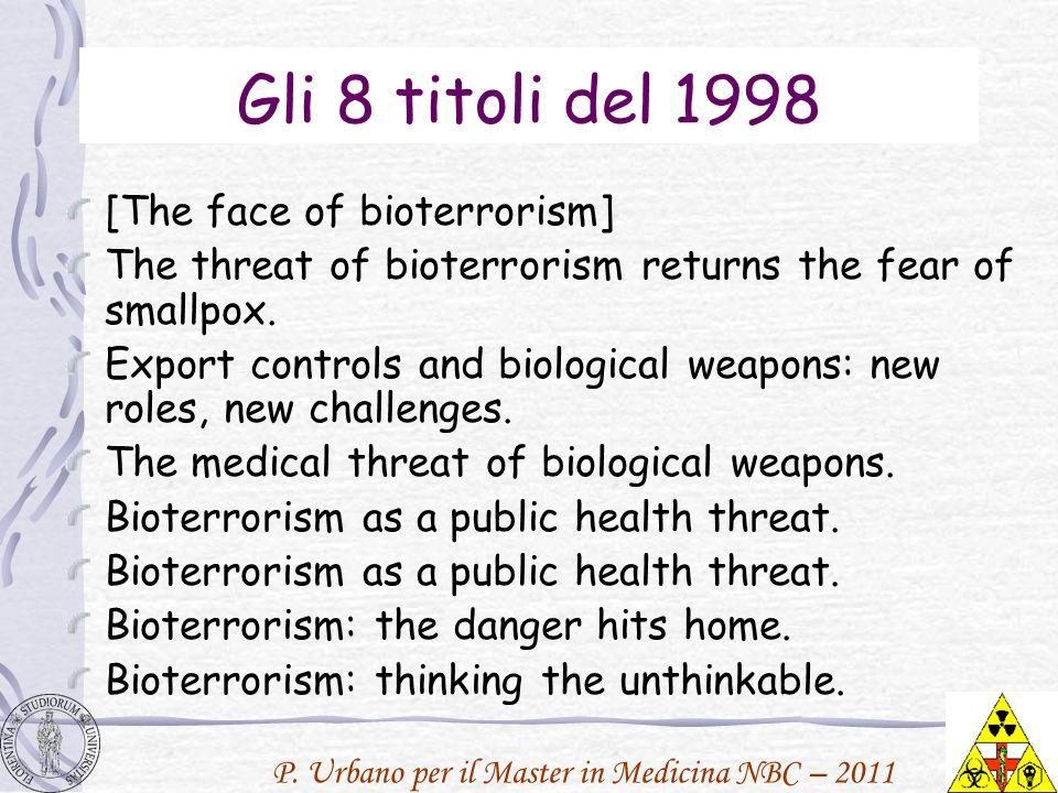 P. Urbano per il Master in Medicina NBC – 2011 Gli 8 titoli del 1998 [The face of bioterrorism] The threat of bioterrorism returns the fear of smallpo