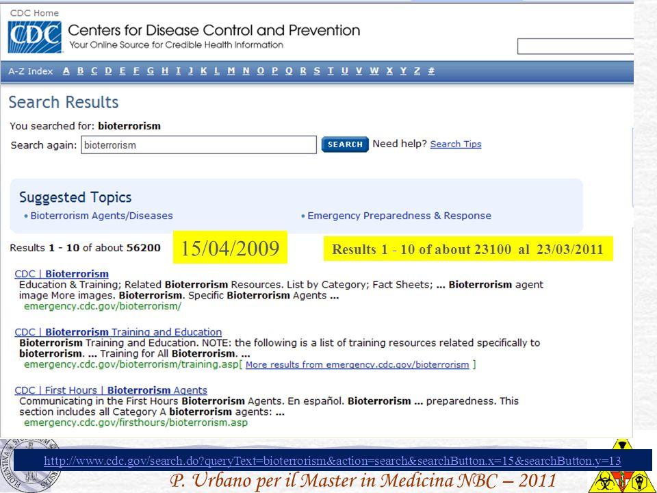 P. Urbano per il Master in Medicina NBC – 2011 15/04/2009 Results 1 - 10 of about 23100 al 23/03/2011 http://www.cdc.gov/search.do?queryText=bioterror