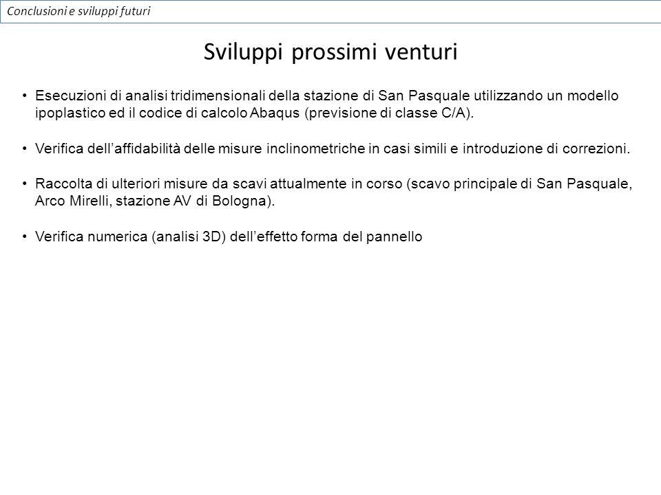 Conclusioni e sviluppi futuri Esecuzioni di analisi tridimensionali della stazione di San Pasquale utilizzando un modello ipoplastico ed il codice di