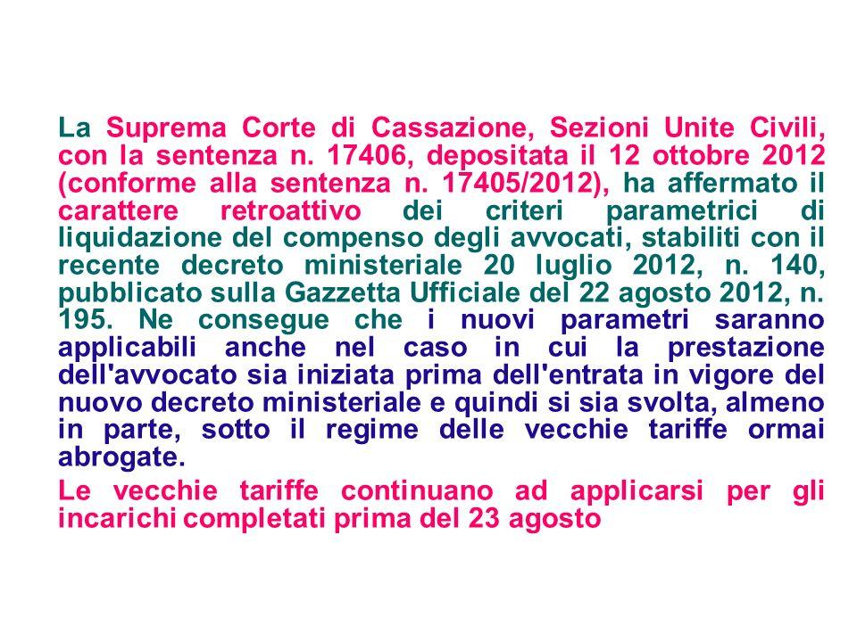 La Suprema Corte di Cassazione, Sezioni Unite Civili, con la sentenza n. 17406, depositata il 12 ottobre 2012 (conforme alla sentenza n. 17405/2012),