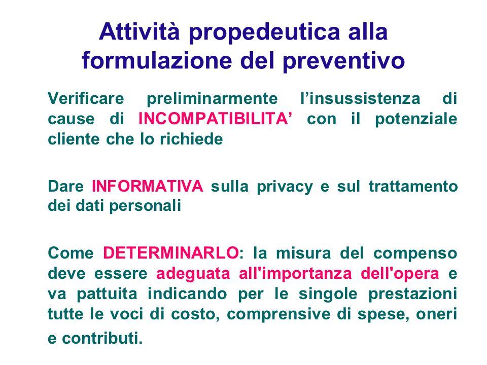 Attività propedeutica alla formulazione del preventivo Verificare preliminarmente linsussistenza di cause di INCOMPATIBILITA con il potenziale cliente