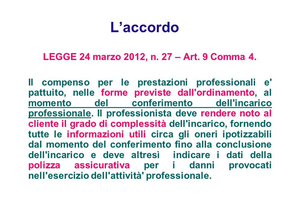 Laccordo LEGGE 24 marzo 2012, n. 27 – Art. 9 Comma 4. Il compenso per le prestazioni professionali e' pattuito, nelle forme previste dall'ordinamento,