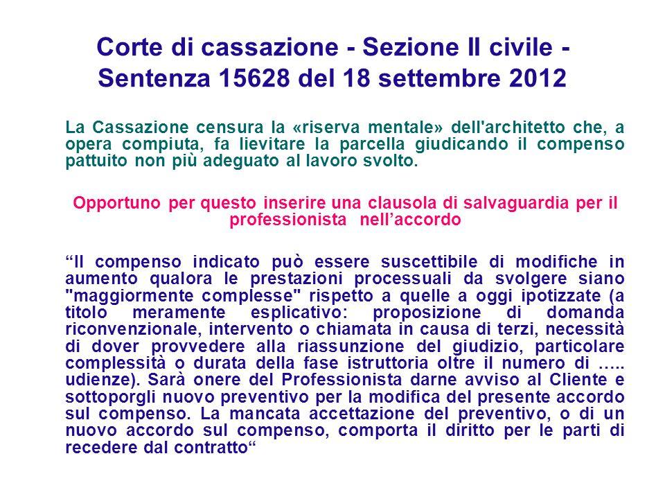 Corte di cassazione - Sezione II civile - Sentenza 15628 del 18 settembre 2012 La Cassazione censura la «riserva mentale» dell'architetto che, a opera