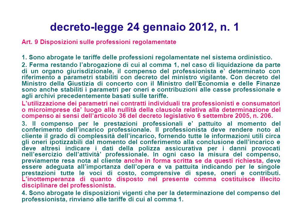decreto-legge 24 gennaio 2012, n. 1 Art. 9 Disposizioni sulle professioni regolamentate 1. Sono abrogate le tariffe delle professioni regolamentate ne