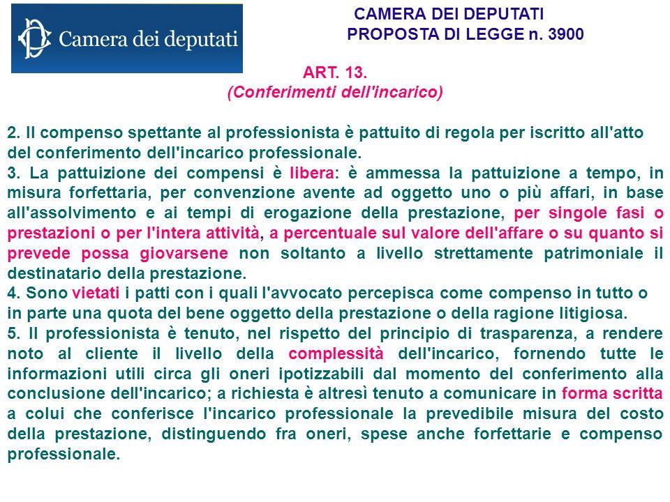 CAMERA DEI DEPUTATI PROPOSTA DI LEGGE n. 3900 ART. 13. (Conferimenti dell'incarico) 2. Il compenso spettante al professionista è pattuito di regola pe