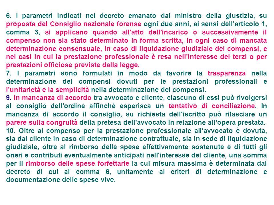 6. I parametri indicati nel decreto emanato dal ministro della giustizia, su proposta del Consiglio nazionale forense ogni due anni, ai sensi dell'art