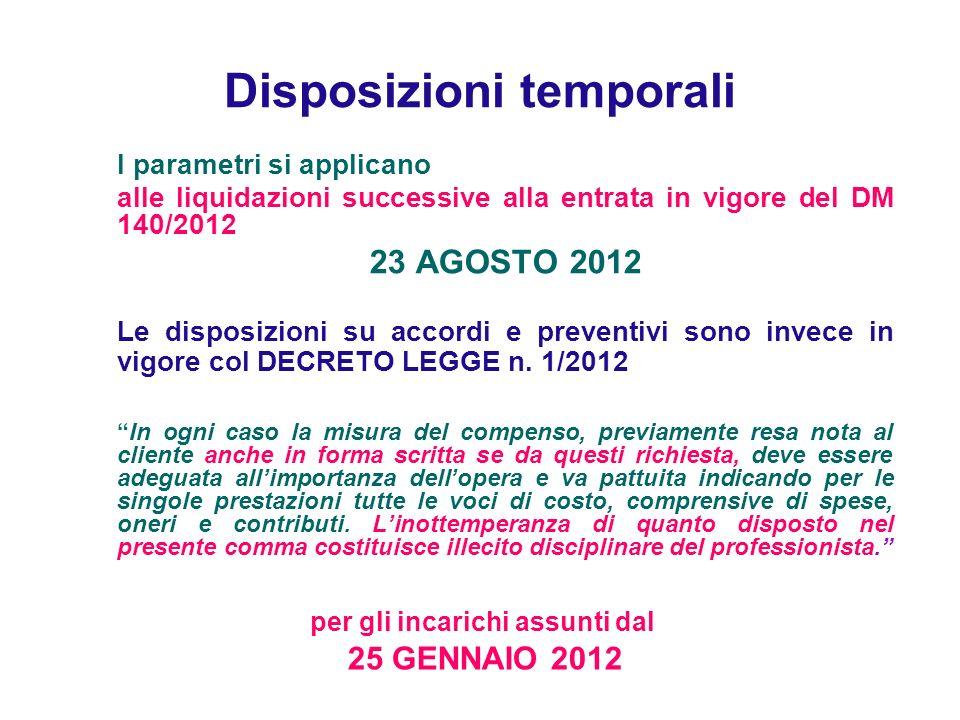 Disposizioni temporali I parametri si applicano alle liquidazioni successive alla entrata in vigore del DM 140/2012 23 AGOSTO 2012 Le disposizioni su