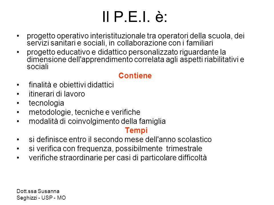 Dott.ssa Susanna Seghizzi - USP - MO Il P.E.I. è: progetto operativo interistituzionale tra operatori della scuola, dei servizi sanitari e sociali, in