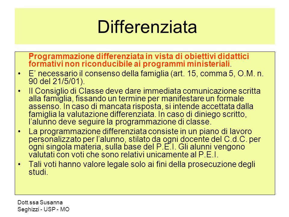 Dott.ssa Susanna Seghizzi - USP - MO Differenziata Programmazione differenziata in vista di obiettivi didattici formativi non riconducibile ai programmi ministeriali.