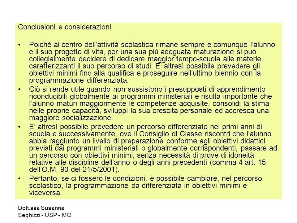 Dott.ssa Susanna Seghizzi - USP - MO Conclusioni e considerazioni Poiché al centro dellattività scolastica rimane sempre e comunque lalunno e il suo p