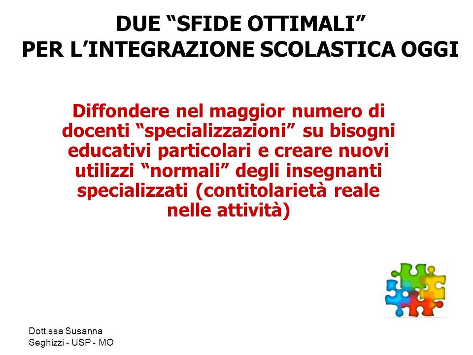 Dott.ssa Susanna Seghizzi - USP - MO Diffondere nel maggior numero di docenti specializzazioni su bisogni educativi particolari e creare nuovi utilizz