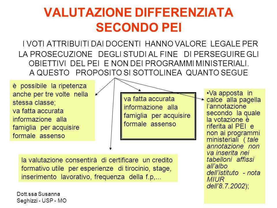 Dott.ssa Susanna Seghizzi - USP - MO VALUTAZIONE DIFFERENZIATA SECONDO PEI I VOTI ATTRIBUITI DAI DOCENTI HANNO VALORE LEGALE PER LA PROSECUZIONE DEGLI STUDI AL FINE DI PERSEGUIRE GLI OBIETTIVI DEL PEI E NON DEI PROGRAMMI MINISTERIALI.