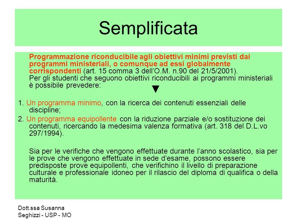 Dott.ssa Susanna Seghizzi - USP - MO Semplificata Programmazione riconducibile agli obiettivi minimi previsti dai programmi ministeriali, o comunque ad essi globalmente corrispondenti (art.