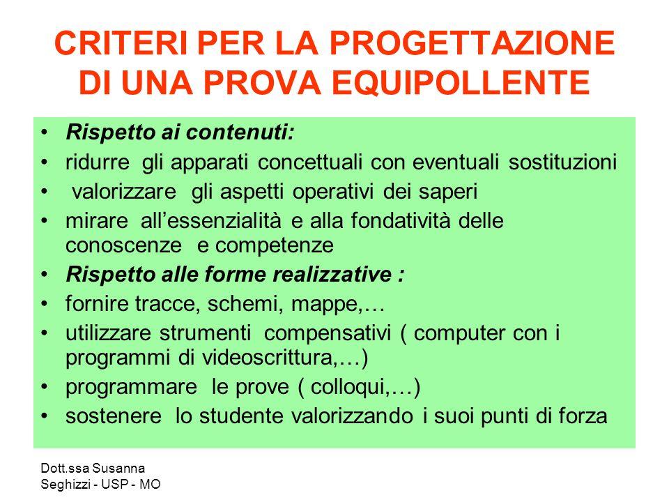 Dott.ssa Susanna Seghizzi - USP - MO CRITERI PER LA PROGETTAZIONE DI UNA PROVA EQUIPOLLENTE Rispetto ai contenuti: ridurre gli apparati concettuali co