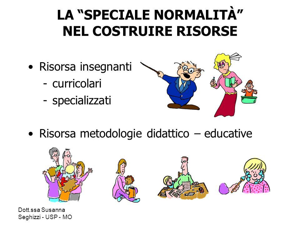 Dott.ssa Susanna Seghizzi - USP - MO LA SPECIALE NORMALITÀ NEL COSTRUIRE RISORSE Risorsa insegnanti -curricolari -specializzati Risorsa metodologie didattico – educative