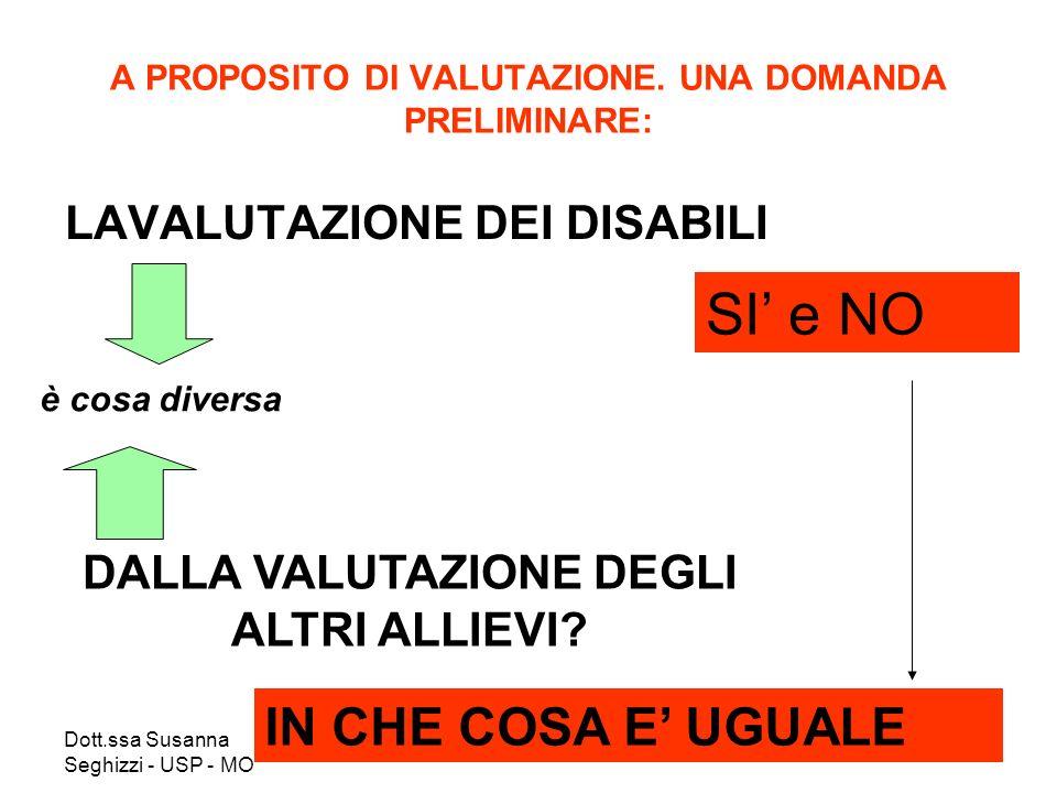 Dott.ssa Susanna Seghizzi - USP - MO A PROPOSITO DI VALUTAZIONE. UNA DOMANDA PRELIMINARE: LAVALUTAZIONE DEI DISABILI è cosa diversa DALLA VALUTAZIONE