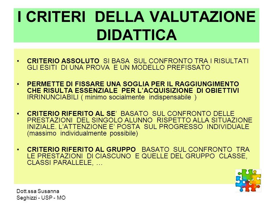 Dott.ssa Susanna Seghizzi - USP - MO I CRITERI DELLA VALUTAZIONE DIDATTICA CRITERIO ASSOLUTO SI BASA SUL CONFRONTO TRA I RISULTATI GLI ESITI DI UNA PR