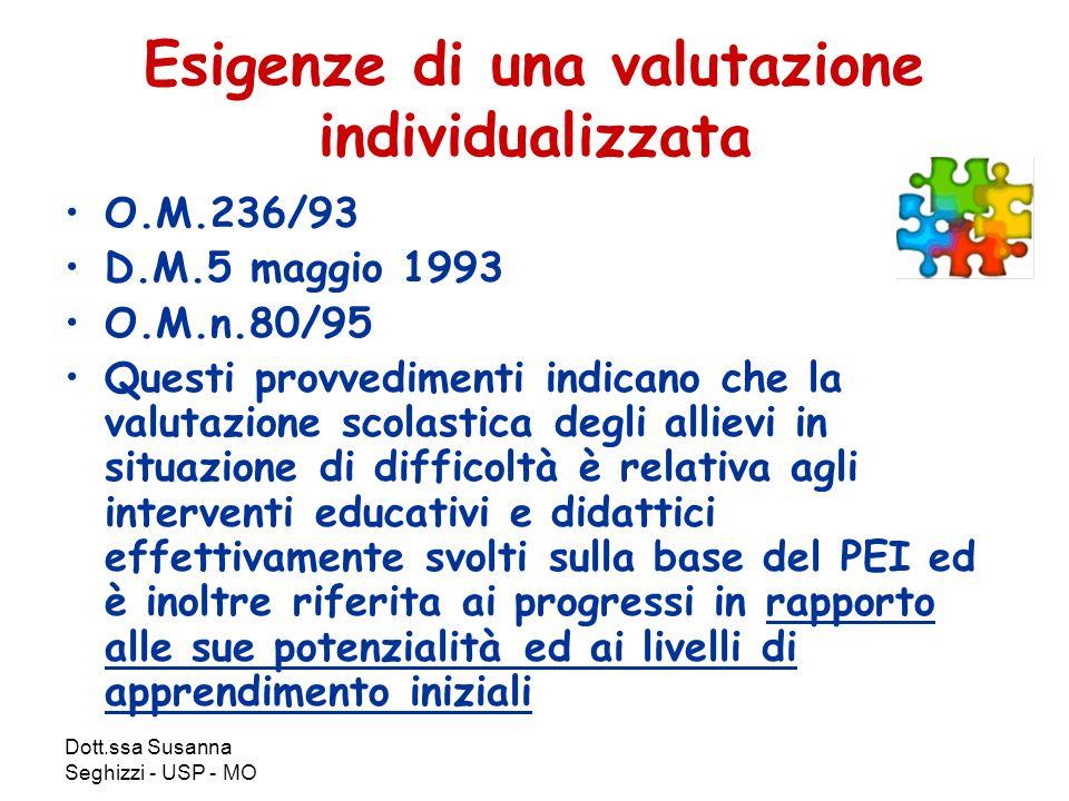 Dott.ssa Susanna Seghizzi - USP - MO Esigenze di una valutazione individualizzata O.M.236/93 D.M.5 maggio 1993 O.M.n.80/95 Questi provvedimenti indica