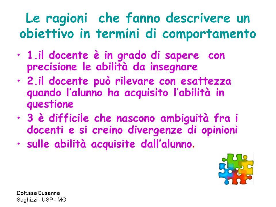 Dott.ssa Susanna Seghizzi - USP - MO Le ragioni che fanno descrivere un obiettivo in termini di comportamento 1.il docente è in grado di sapere con pr
