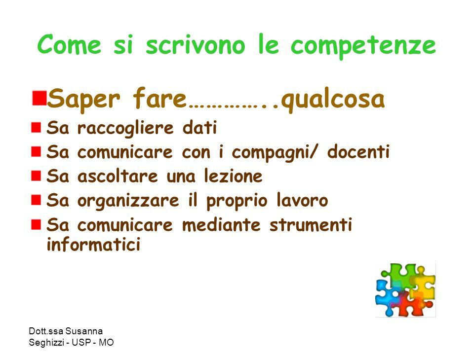 Dott.ssa Susanna Seghizzi - USP - MO Come si scrivono le competenze Saper fare…………..qualcosa Sa raccogliere dati Sa comunicare con i compagni/ docenti