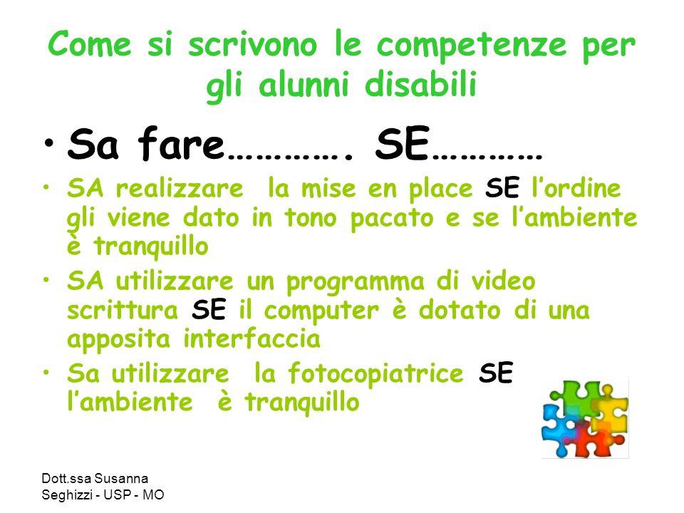 Dott.ssa Susanna Seghizzi - USP - MO Come si scrivono le competenze per gli alunni disabili Sa fare…………. SE………… SA realizzare la mise en place SE lord