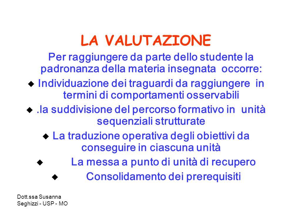 Dott.ssa Susanna Seghizzi - USP - MO LA VALUTAZIONE Per raggiungere da parte dello studente la padronanza della materia insegnata occorre: Individuazi