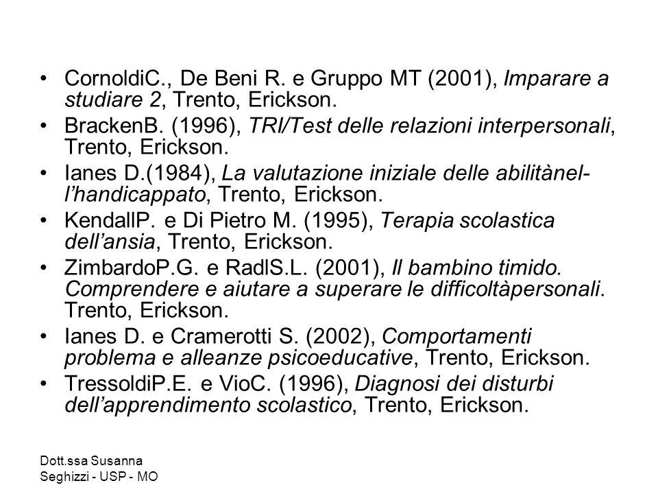 Dott.ssa Susanna Seghizzi - USP - MO CornoldiC., De Beni R. e Gruppo MT (2001), Imparare a studiare 2, Trento, Erickson. BrackenB. (1996), TRI/Test de