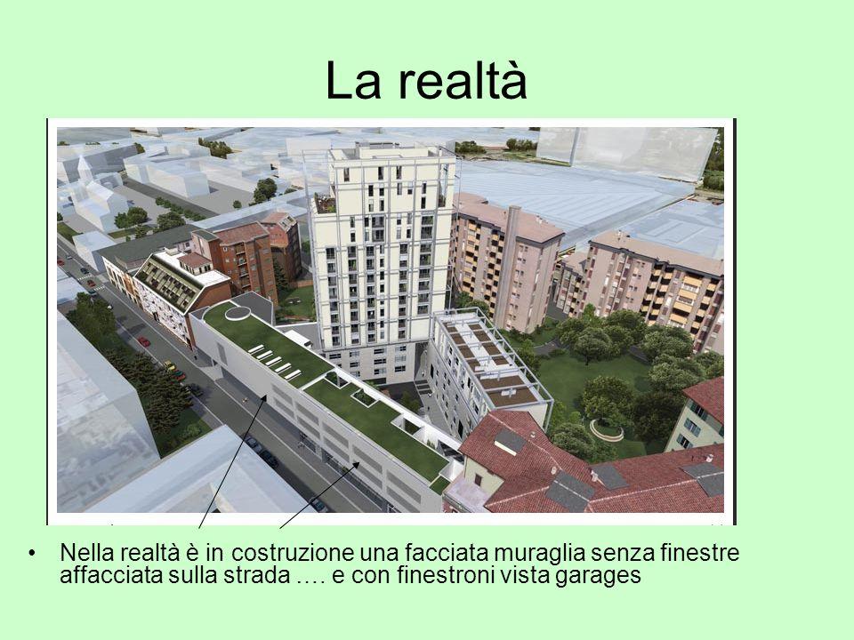 La realtà Nella realtà è in costruzione una facciata muraglia senza finestre affacciata sulla strada …. e con finestroni vista garages