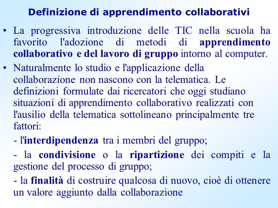 Definizione di apprendimento collaborativi La progressiva introduzione delle TIC nella scuola ha favorito l'adozione di metodi di apprendimento collab
