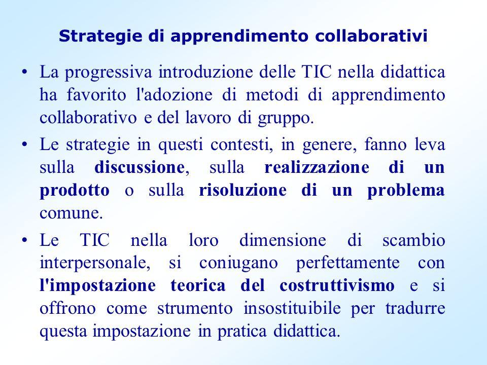 Strategie di apprendimento collaborativi La progressiva introduzione delle TIC nella didattica ha favorito l'adozione di metodi di apprendimento colla