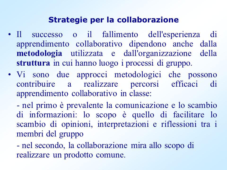 Strategie per la collaborazione Il successo o il fallimento dell'esperienza di apprendimento collaborativo dipendono anche dalla metodologia utilizzat