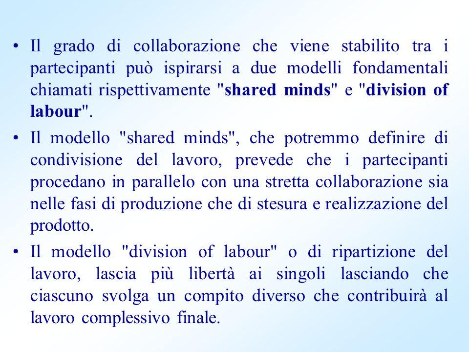 Il grado di collaborazione che viene stabilito tra i partecipanti può ispirarsi a due modelli fondamentali chiamati rispettivamente