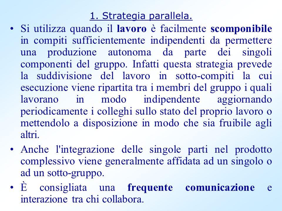 1. Strategia parallela. Si utilizza quando il lavoro è facilmente scomponibile in compiti sufficientemente indipendenti da permettere una produzione a