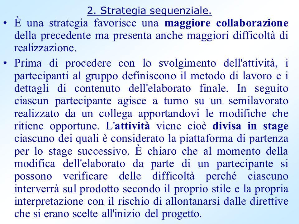 2. Strategia sequenziale. È una strategia favorisce una maggiore collaborazione della precedente ma presenta anche maggiori difficoltà di realizzazion