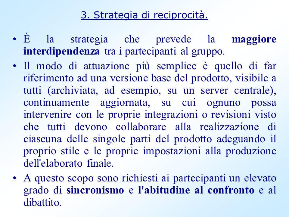 3. Strategia di reciprocità. È la strategia che prevede la maggiore interdipendenza tra i partecipanti al gruppo. Il modo di attuazione più semplice è