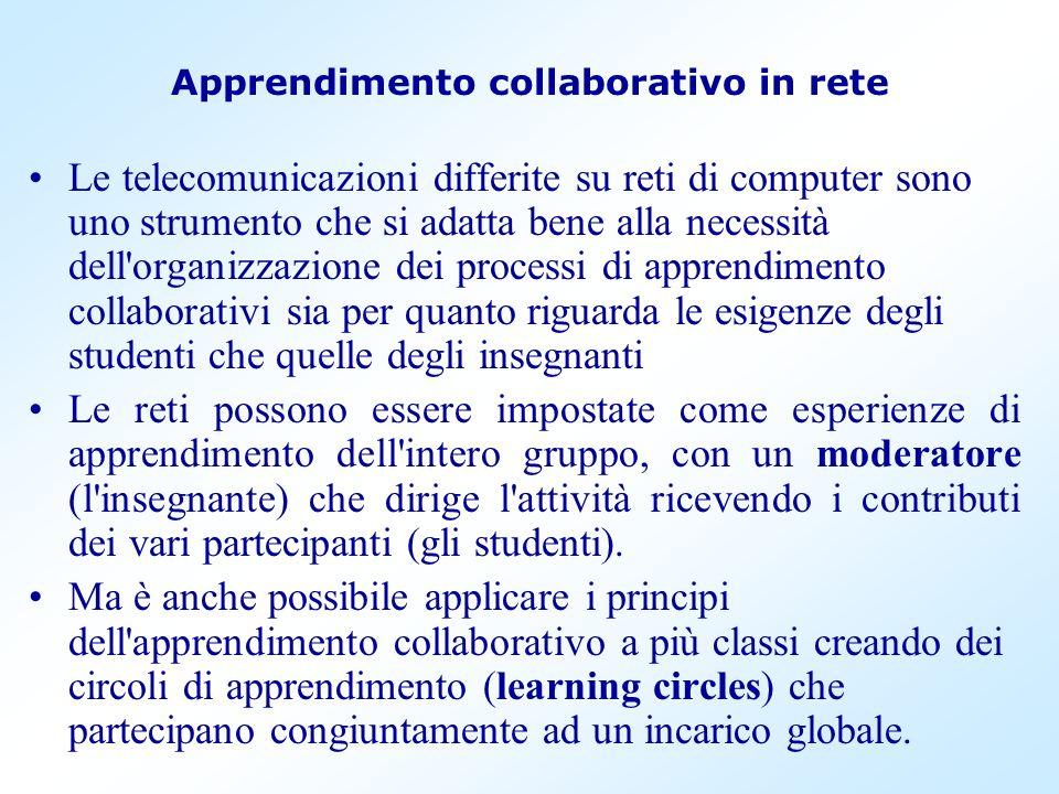 Apprendimento collaborativo in rete Le telecomunicazioni differite su reti di computer sono uno strumento che si adatta bene alla necessità dell'organ