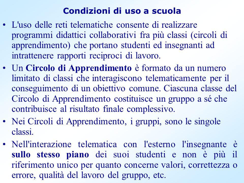 Condizioni di uso a scuola L'uso delle reti telematiche consente di realizzare programmi didattici collaborativi fra più classi (circoli di apprendime