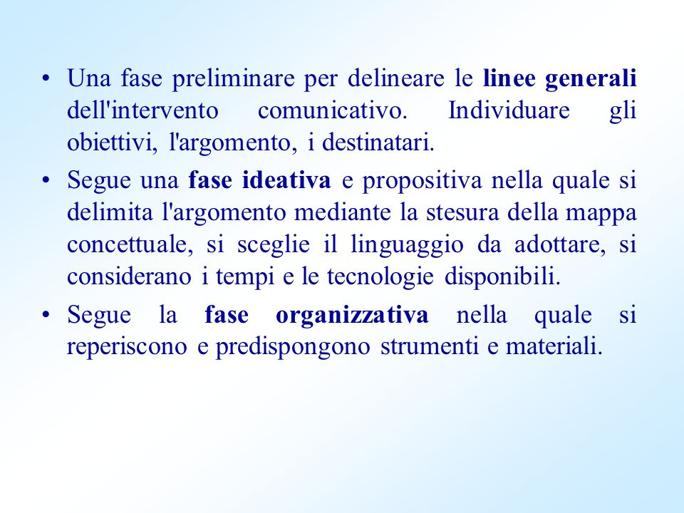 Una fase preliminare per delineare le linee generali dell'intervento comunicativo. Individuare gli obiettivi, l'argomento, i destinatari. Segue una fa