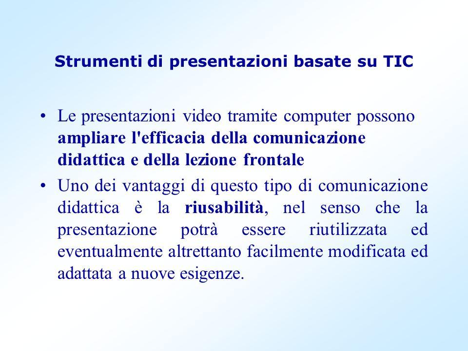 Strumenti di presentazioni basate su TIC Le presentazioni video tramite computer possono ampliare l'efficacia della comunicazione didattica e della le