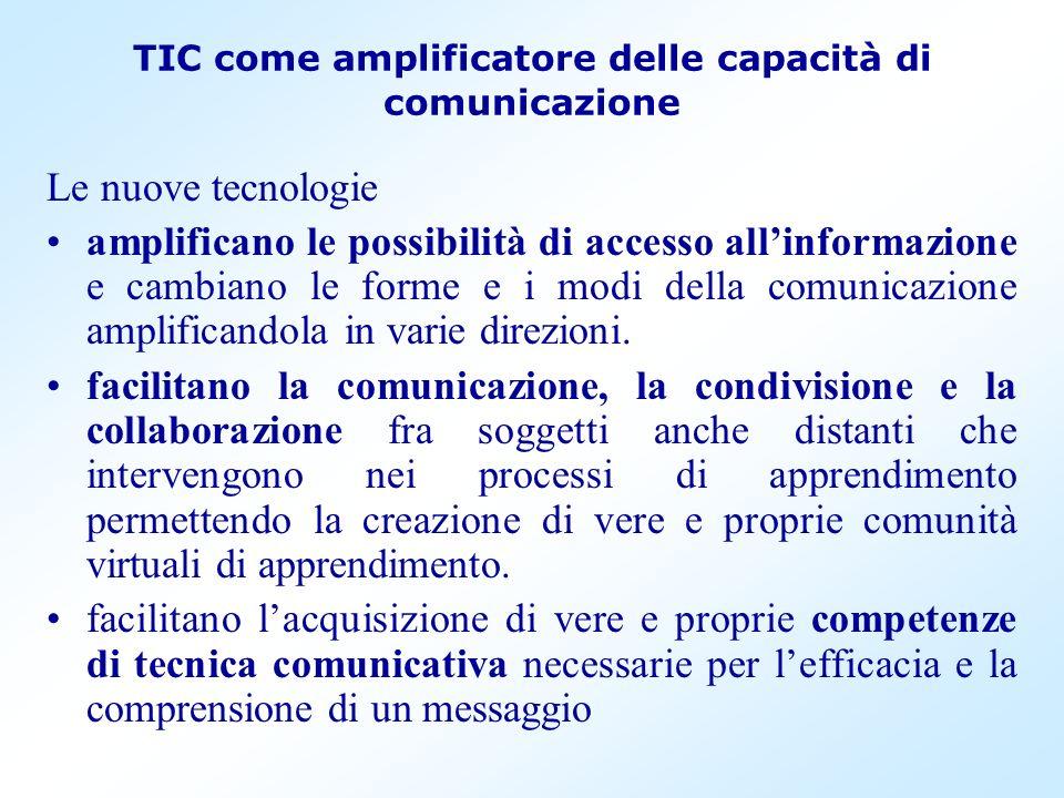 TIC come amplificatore delle capacità di comunicazione Le nuove tecnologie amplificano le possibilità di accesso allinformazione e cambiano le forme e