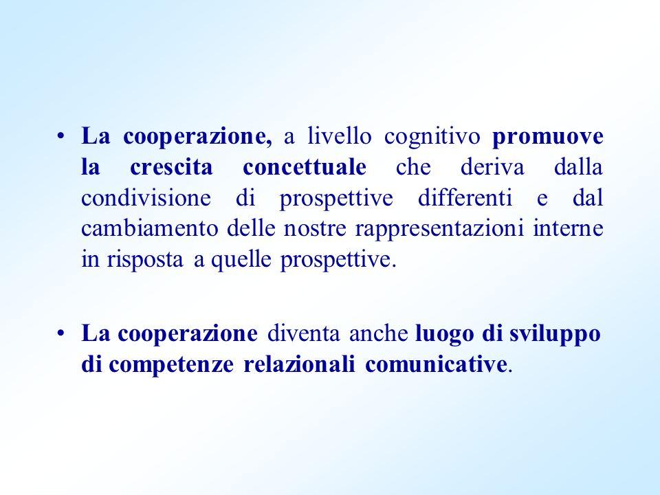 La cooperazione, a livello cognitivo promuove la crescita concettuale che deriva dalla condivisione di prospettive differenti e dal cambiamento delle