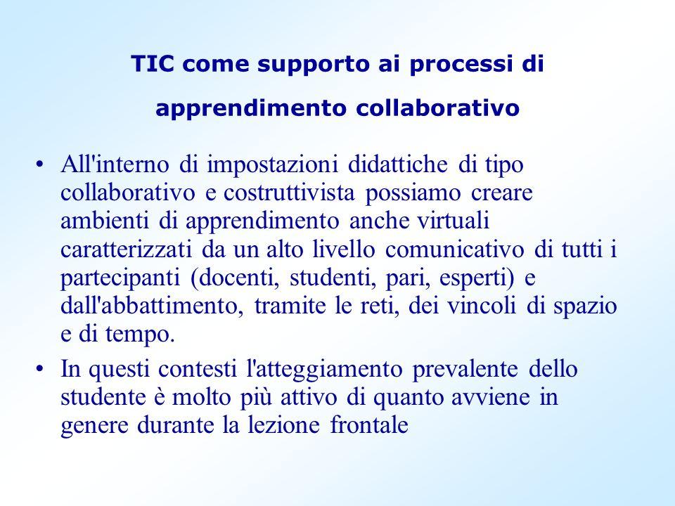 TIC come supporto ai processi di apprendimento collaborativo All'interno di impostazioni didattiche di tipo collaborativo e costruttivista possiamo cr