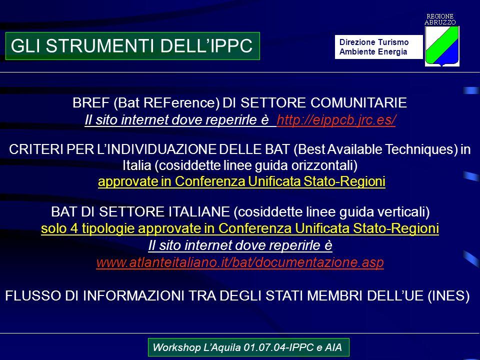 Direzione Turismo Ambiente Energia Workshop LAquila 01.07.04-IPPC e AIA BREF (Bat REFerence) DI SETTORE COMUNITARIE Il sito internet dove reperirle è http://eippcb.jrc.es/ CRITERI PER LINDIVIDUAZIONE DELLE BAT (Best Available Techniques) in Italia (cosiddette linee guida orizzontali) approvate in Conferenza Unificata Stato-Regioni BAT DI SETTORE ITALIANE (cosiddette linee guida verticali) solo 4 tipologie approvate in Conferenza Unificata Stato-Regioni Il sito internet dove reperirle è www.atlanteitaliano.it/bat/documentazione.asp FLUSSO DI INFORMAZIONI TRA DEGLI STATI MEMBRI DELLUE (INES) GLI STRUMENTI DELLIPPC