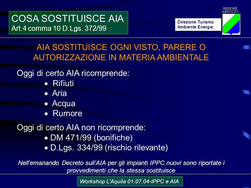 Direzione Turismo Ambiente Energia Workshop LAquila 01.07.04-IPPC e AIA COSA SOSTITUISCE AIA Art.4 comma 10 D.Lgs.