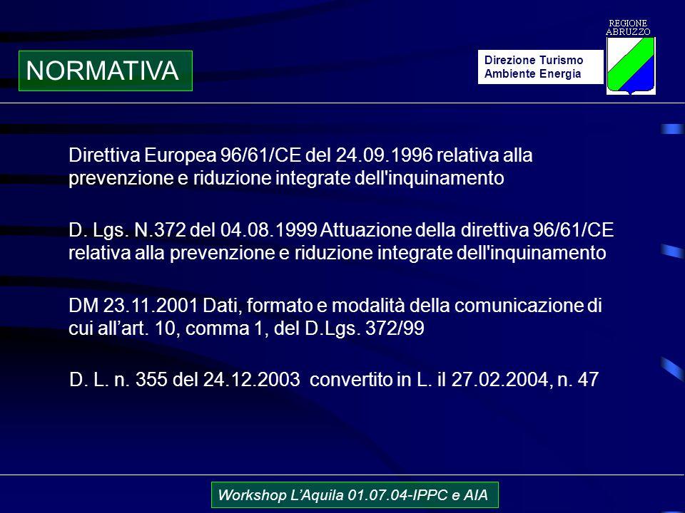 Direzione Turismo Ambiente Energia Workshop LAquila 01.07.04-IPPC e AIA NORMATIVA D.