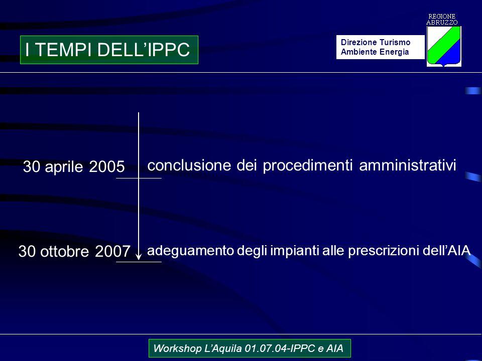 Direzione Turismo Ambiente Energia Workshop LAquila 01.07.04-IPPC e AIA I TEMPI DELLIPPC 30 aprile 2005 30 ottobre 2007 conclusione dei procedimenti amministrativi adeguamento degli impianti alle prescrizioni dellAIA